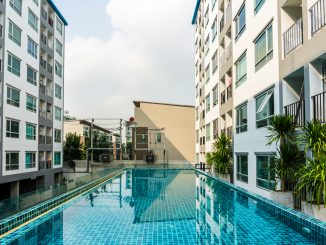 Swimming pool in a condominium building