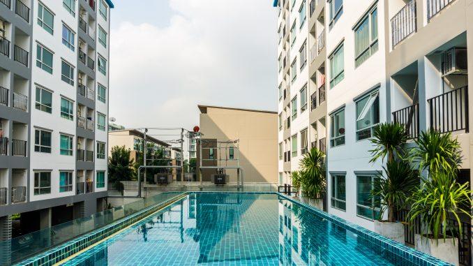 Swimming pool in a condominium building