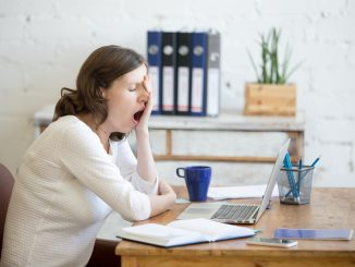 a woman yawning
