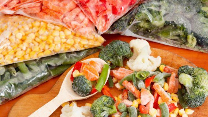 Frozen Vegetables in Vacuum Storage Bags