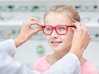 Child getting glasses