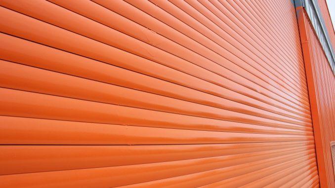 a red garage door