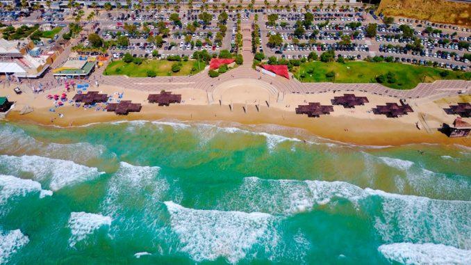 Aerial view of a beautiful beach resort