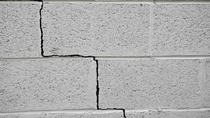 foundation crack effect seen on a wall