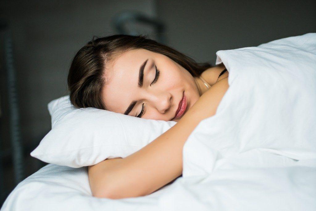 Woman having a good night's sleep