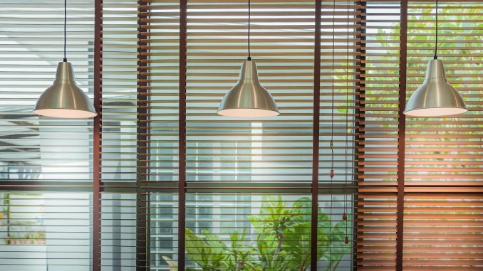 Living room window blinds