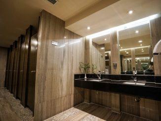 clean modern public restroom