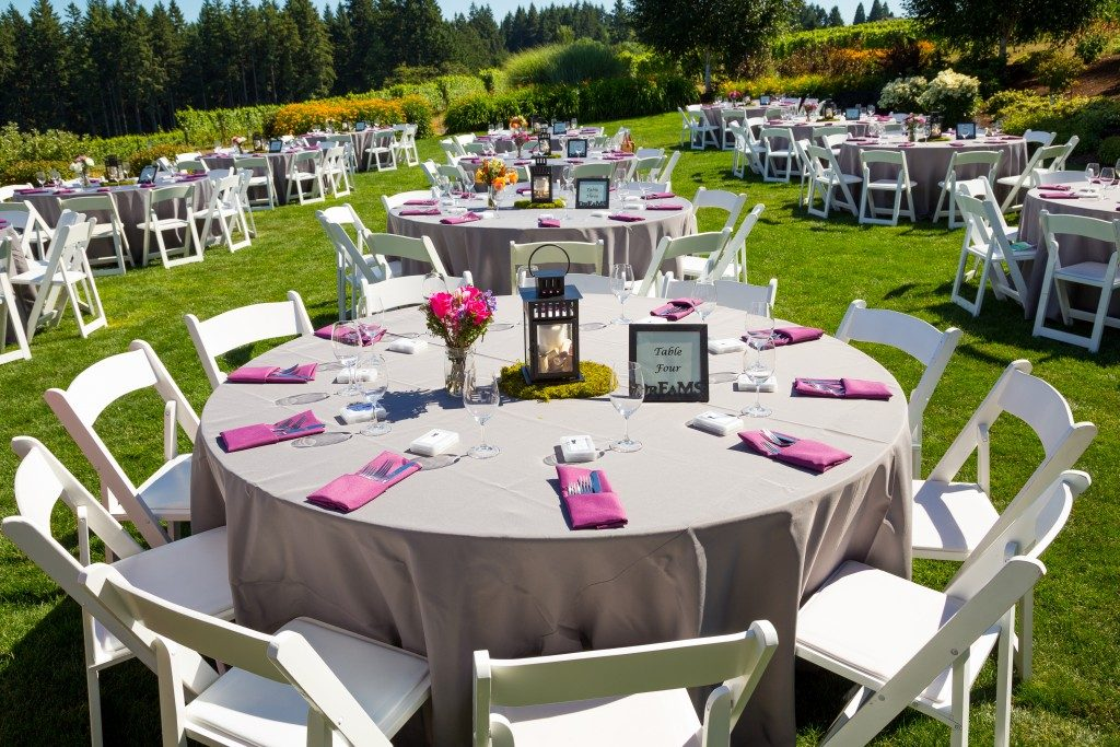 wedding reception at an outdoor venue vineyard