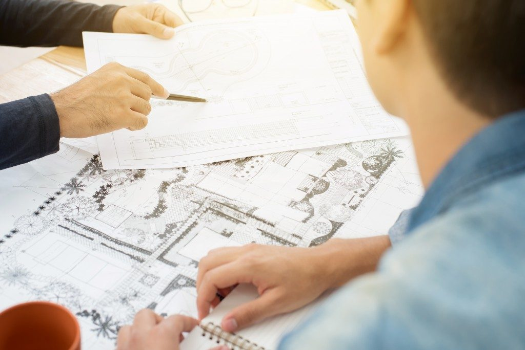 Client consulting an architect