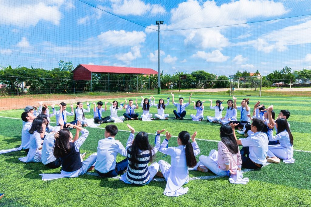 Students having outdoor classes