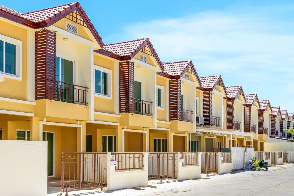 yellow row houses