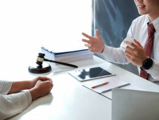 Business lawyer talking to client