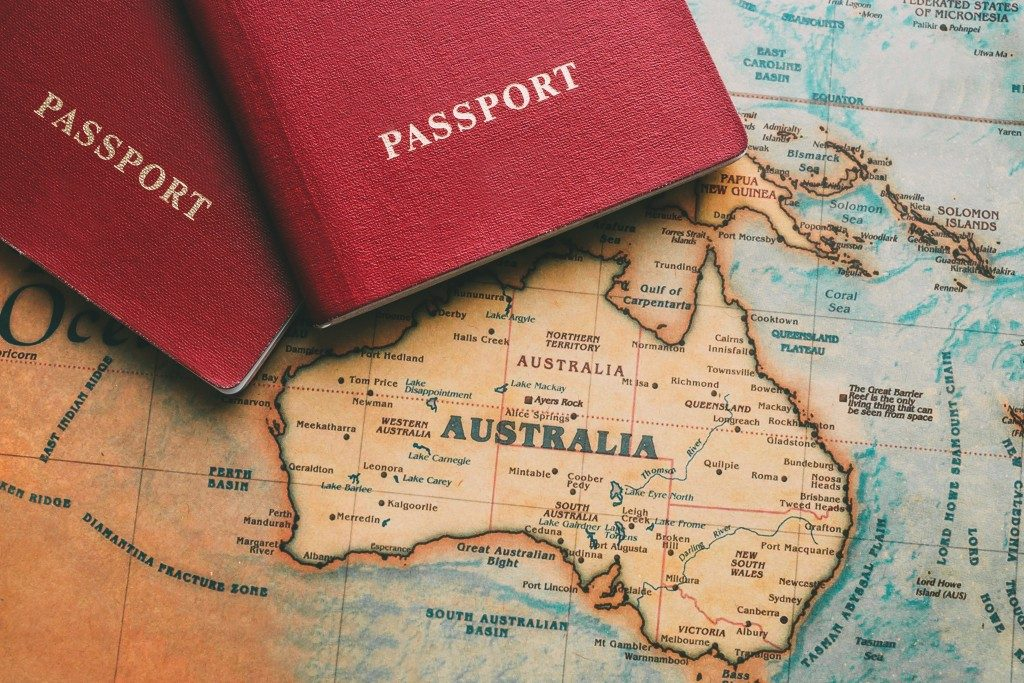 passport and map of australia