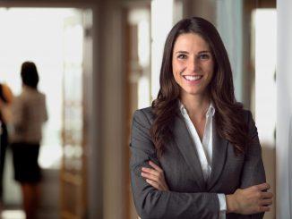 Confident female employee