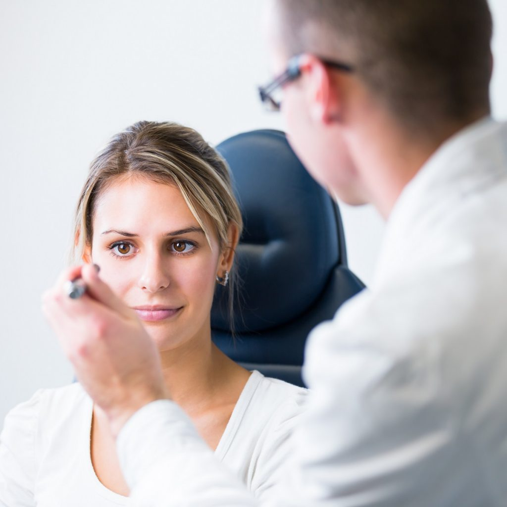 woman having her eyes check