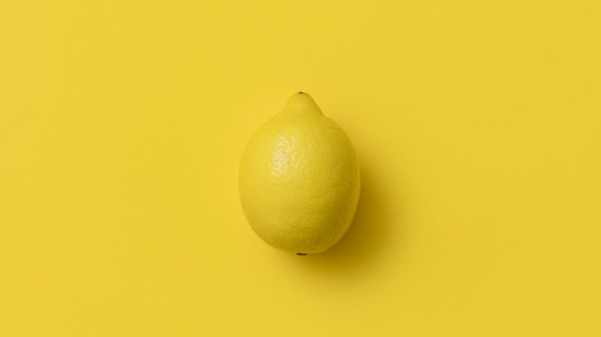 lemon in a yellow background