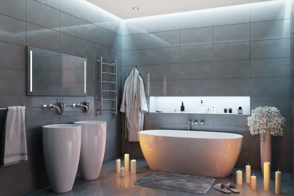 modern bathroom with candles