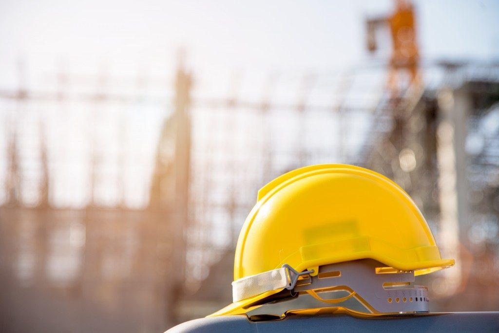 yellow hard hat at a construction