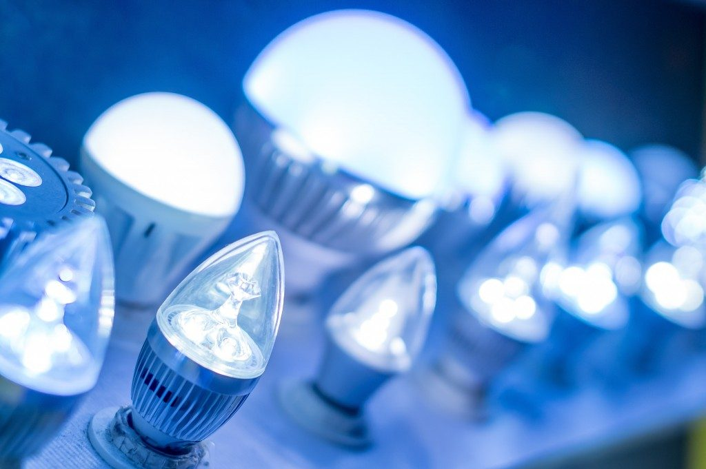 some led lamps blue light science and technology background