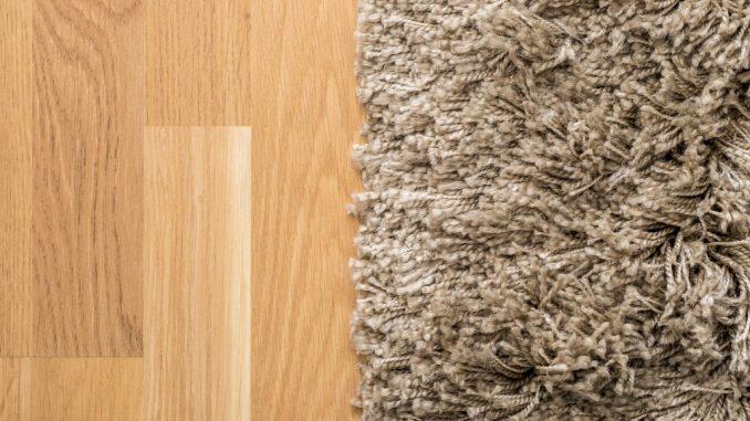 fluffy carpet on wooden floor