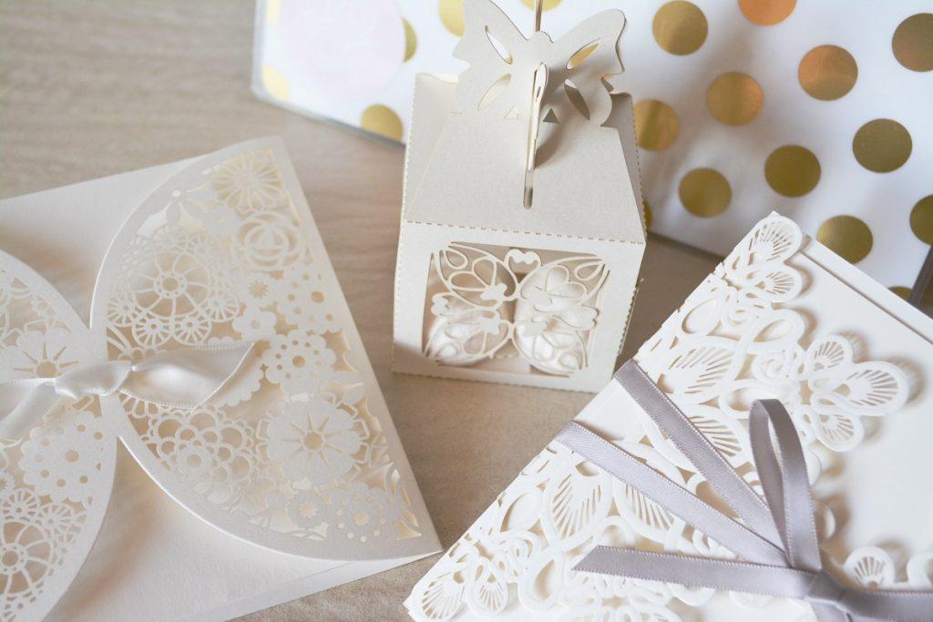 carved-design wedding invitations