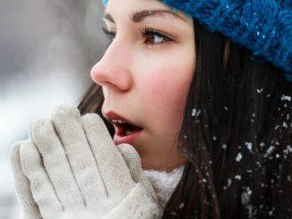 Female making herself warm during winter