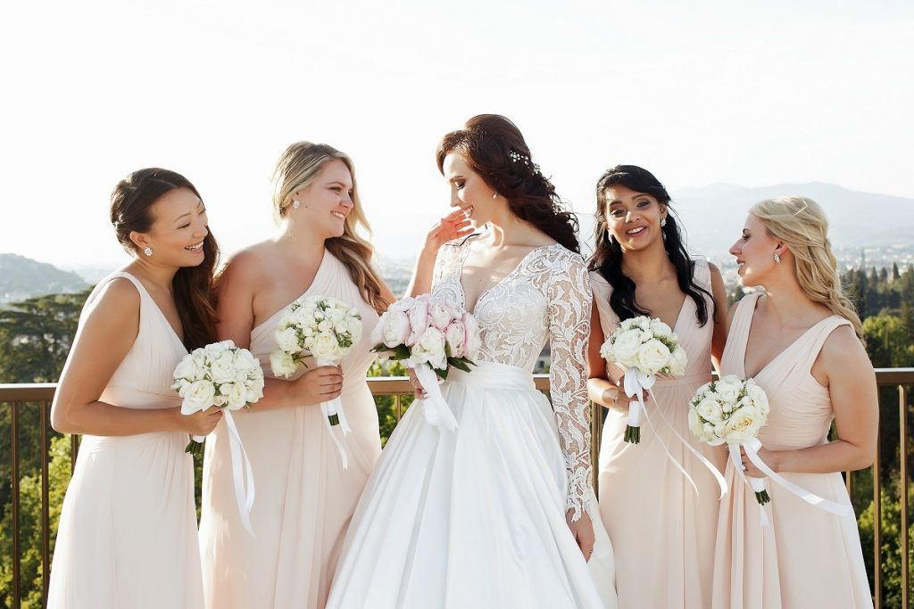 bride and her entourage