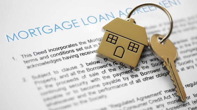 Mortgage loan form with house key