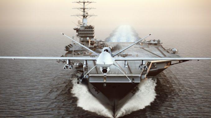 war ship out at sea