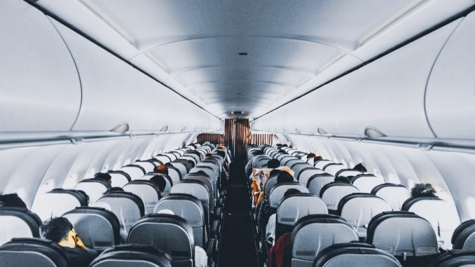 inside of a commercial airline