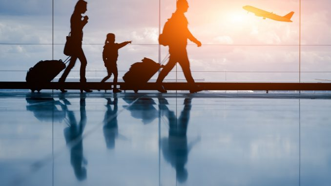 a family traveling