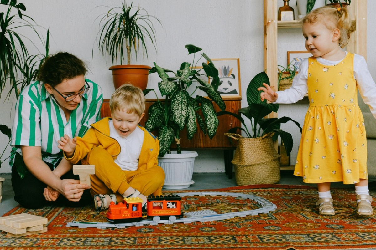 family playing with trains