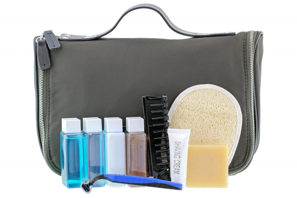 Black traveling cosmetic bag